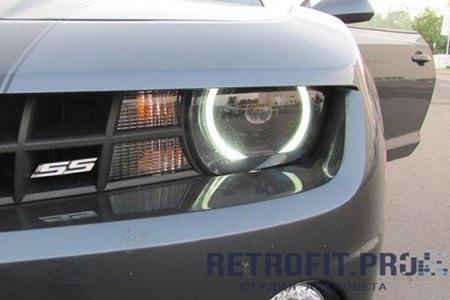 Chevrolet Camaro SS (2009-2013) - Установка линз + Angel Eyes + Покраска фар